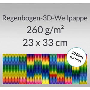 Regenbogen-3D-Colorwellpappe 260 g/qm 23 x 33 cm - 10 Blatt sortiert