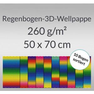 Regenbogen-3D-Colorwellpappe 260 g/qm 50 x 70 cm - 10 Bogen sortiert