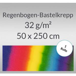 Regenbogen-Bastelkrepp 32 g/qm 0,5 x 2,5 m - 1 Rolle