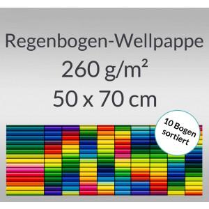 Regenbogen-Bastelwellpappe 260 g/qm 50 x 70 cm - 10 Bogen sortiert