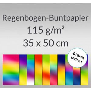 Regenbogen-Buntpapier 115 g/qm 35 x 50 cm - 20 Blatt sortiert