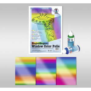Regenbogen-Kreativ-Folie 23 x 33 cm - 3 Blatt sortiert