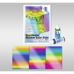 Regenbogen-Kreativ-Folie 33 x 46 cm - 3 Blattt sortiert