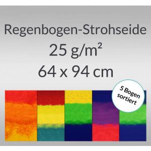 Regenbogen-Strohseide 25 g/qm 64 x 94 cm - 5 Bogen sortiert