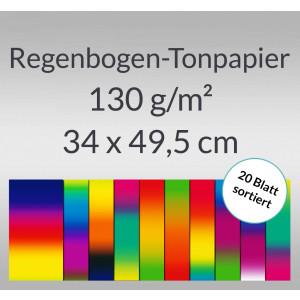 Regenbogen-Tonzeichenpapier 130 g/qm 34 x 49,5 cm - 20 Blatt sortiert