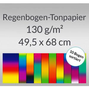 Regenbogen-Tonzeichenpapier 130 g/qm 49,5 x 68 cm - 10 Bogen sortiert