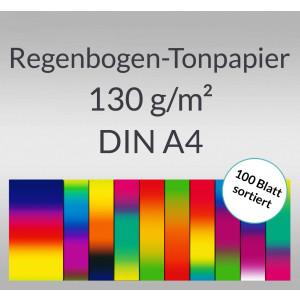 Regenbogen-Tonzeichenpapier 130 g/qm DIN A4 - 100 Blatt sortiert