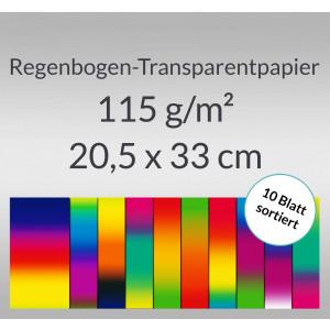 Regenbogen-Transparentpapier 115 g/qm 20,5 x 33 cm - 10 Blatt sortiert