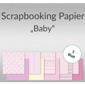 """Scrapbooking Papier """"Baby"""" rosa 30,5 x 30,5 cm - 5 Blatt"""