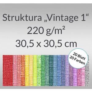 "Scrapbooking Papier Block ""Struktura Vintage 1"" 30,5 x 30,5 cm - 20 Blatt sortiert"