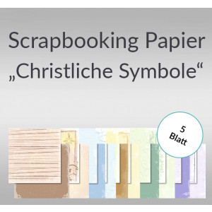 "Scrapbooking Papier ""Christliche Symbole"" 30,5 x 30,5 cm - 5 Blatt"
