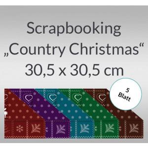 "Scrapbooking Papier ""Country Christmas"" 30,5 x 30,5 cm - 5 Blatt"