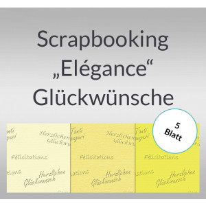 """Scrapbooking Papier """"Elegance"""" Glückwünsche - 5 Blatt"""