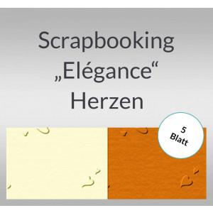 """Scrapbooking Papier """"Elegance"""" Herzen - 5 Blatt"""