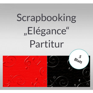 "Scrapbooking Papier ""Elegance"" Partiture - 5 Blatt"