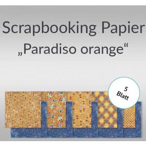 "Scrapbooking Papier ""Paradiso"" orange 30,5 x 30,5 cm - 5 Blatt"