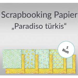 "Scrapbooking Papier ""Paradiso"" türkis 30,5 x 30,5 cm - 5 Blatt"