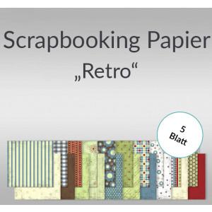 "Scrapbooking Papier ""Retro"" 30,5 x 30,5 cm - 5 Blatt"