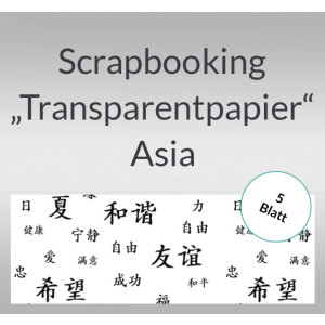 "Scrapbooking Papier ""Transparentpapier"" Asia weiß - 5 Blatt"