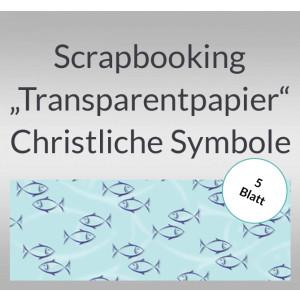"Scrapbooking Papier ""Transparentpapier"" Christliche Symbole Fisch - 5 Blatt"