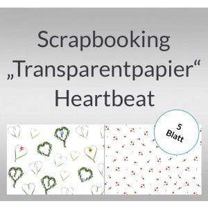 """Scrapbooking Papier """"Transparentpapier"""" Heartbeat - 5 Blatt"""