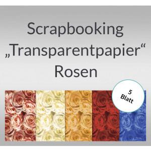 """Scrapbooking Papier """"Transparentpapier"""" Rosen - 5 Blatt"""