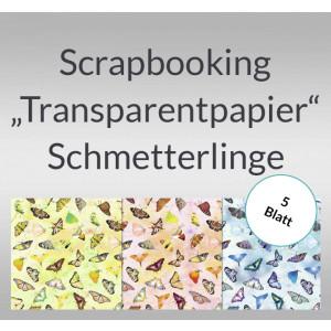 """Scrapbooking Papier """"Transparentpapier"""" Schmetterlinge - 5 Blatt"""