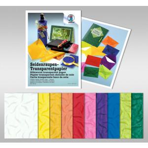 Seidenraupen-Transparentpapier 42 g/qm 23 x 33 cm - 10 Blatt in 10 Farben