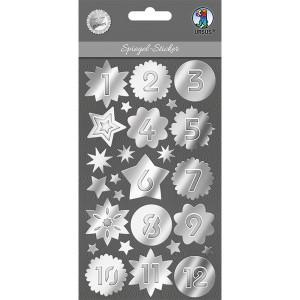 Spiegel-Sticker silber, Adventszahlen 24 St.