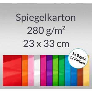 Spiegelkarton 23 x 33 cm - 12 Blatt sortiert