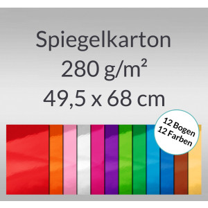 Spiegelkarton 49,5 x 68 cm - 12 Bogen sortiert