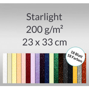 Starlight 200 g/qm 23 x 33 cm - 18 Blatt sortiert