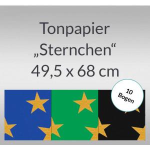 Sternchen-Tonzeichenpapier 130 g/qm 49,5 x 68 cm - 10 Bogen