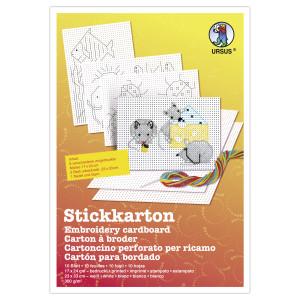 Stickkarton 300 g/qm - 8 Blatt mi Motiven, 2 Blatt unbedruckt
