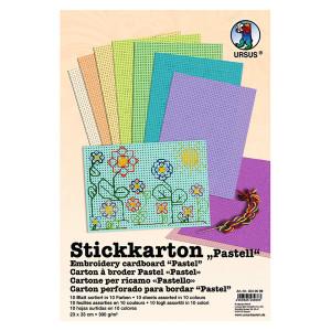 """Stickkarton """"Pastell"""" 300 g/qm 23 x 33 cm - 10 Blatt sortiert"""