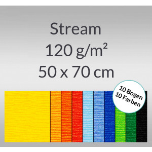 Stream 120 g/qm 50 x 70 cm - 10 Bogen sortiert