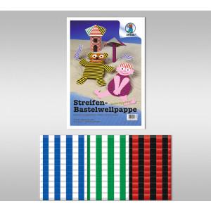 Streifen-Bastelwellpappe 260 g/qm 23 x 33 cm - 10 Blatt sortiert