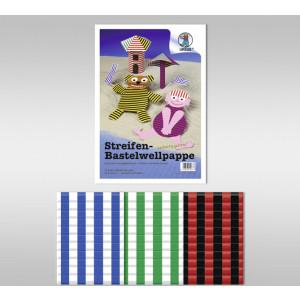 Streifen-Bastelwellpappe 260 g/qm 50 x 70 cm - 10 Bogen sortiert