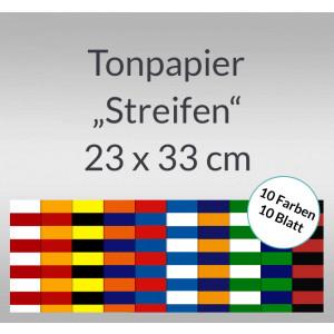 Streifen-Tonzeichenpapier 130 g/qm 23 x 33 cm - 10 Blatt sortiert