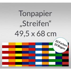 Streifen-Tonzeichenpapier 130 g/qm 49,5 x 68 cm - 10 Bogen sortiert