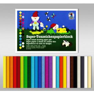 Super-Tonzeichenpapierblock 130 g/qm 24 x 34 cm - 50 Blatt in 25 Farben