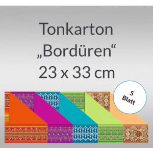 """Tonkarton """"Bordüren"""" 220 g/qm 23 x 33 cm - 5 Blatt"""