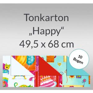 """Tonkarton """"Happy"""" 220 g/qm 49,5 x 68 cm - 10 Bogen"""