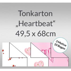 """Tonkarton """"Heartbeat"""" 220 g/qm 49,5 x 68 cm - 10 Bogen sortiert"""