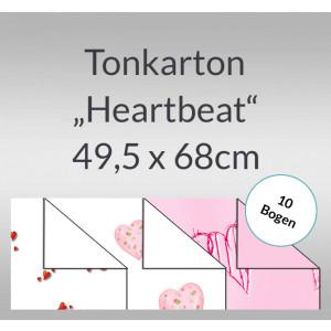 "Tonkarton ""Heartbeat"" 220 g/qm 49,5 x 68 cm - 10 Bogen"