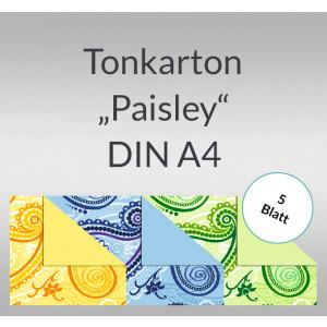 """Tonkarton """"Paisley"""" 220 g/qm DIN A4 - 5 Blatt"""