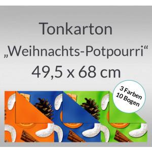 """Tonkarton """"Weihnachts-Potpourri"""" 220 g/qm 49,5 x 68 cm - 10 Bogen sortiert"""