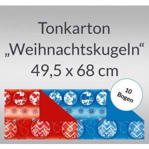 """Tonkarton """"Weihnachtskugeln"""" 220 g/qm 49,5 x 68 cm - 10 Bogen"""