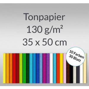 Tonzeichenpapier 130 g/qm 35 x 50 cm - 30 Blatt in 10 Farben