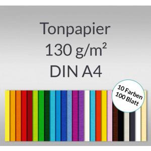 Tonzeichenpapier 130 g/qm DIN A4 - 100 Blatt in 10 Farben
